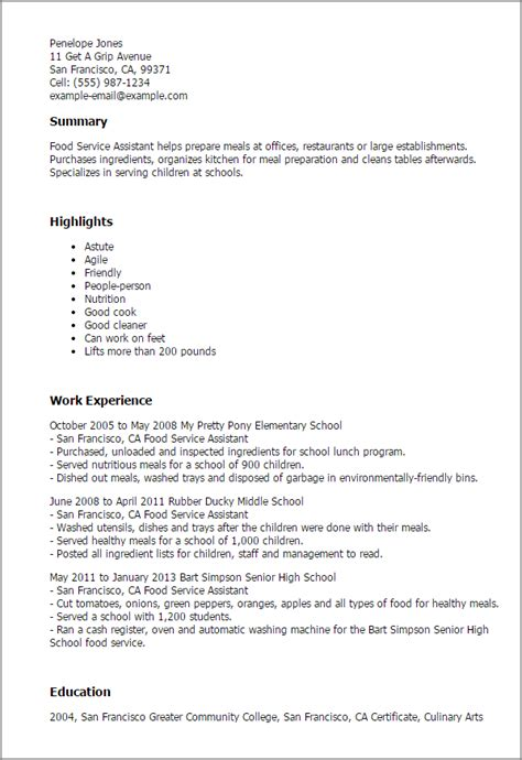 Food Service Resume by Professional Food Service Assistant Templates To Showcase Your Talent Myperfectresume