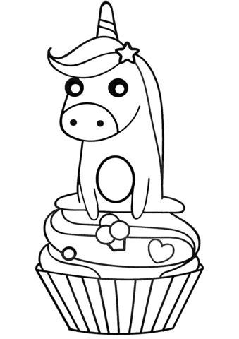 unicorn  cupcake coloring page  printable coloring