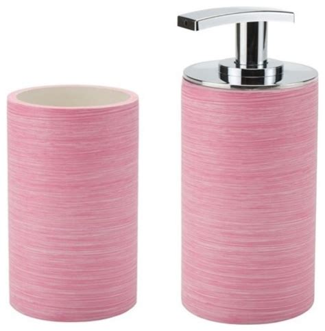 pink soap dispenser and toothbrush holder set so500