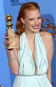 diamond drop earrings uk golden globes 2013 chastain sizzles in plunging