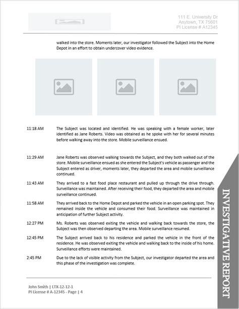 Investigator Surveillance Report Template by Investigator Report Template Document Downloads