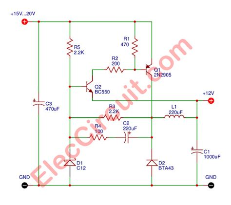 Simple Transistor Switching Power Supply Elec Circuit