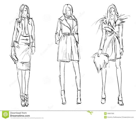 top model web templates for 2017 sketch fashion girls stock vector illustration of