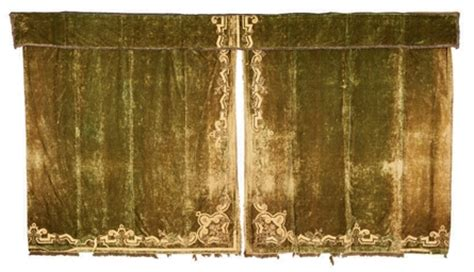 a suite of olive green velvet curtains 19th century