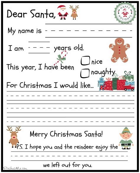 letter to santa template preschooler letter to santa preshusme