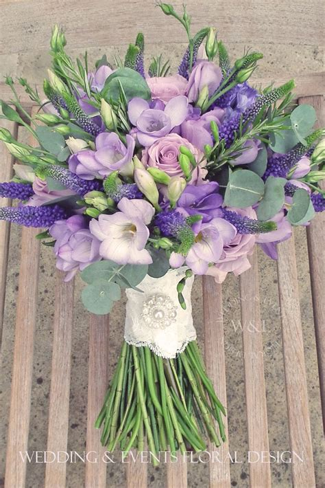 Beautiful Lilac Lavender And Purple Rustic Style Bouquet