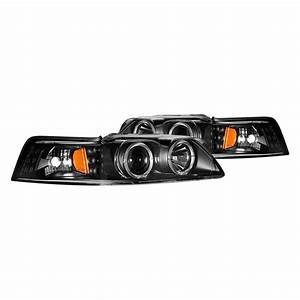 CG® - Ford Mustang 2000 Black Dual Halo Projector Headlights with Parking LEDs