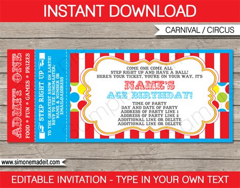 carnival ticket invitation template carnival  circus party