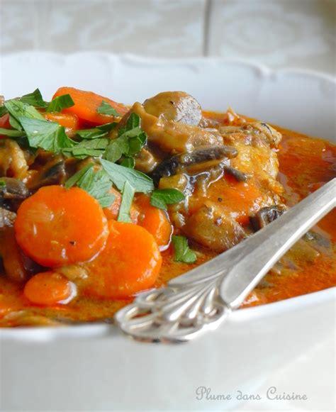 cuisine a base de poulet poulet crémeux aux chignons et carottes une plume