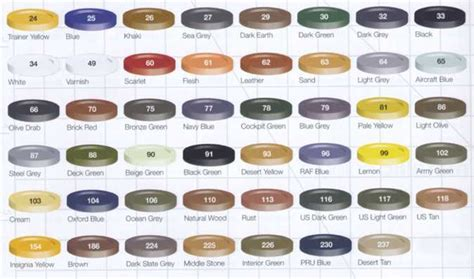 model spray paint color card images