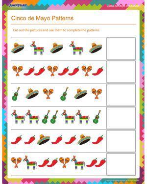 cinco de mayo patterns  math worksheet  kids