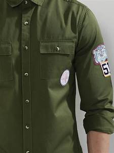 Buy Koovs Green Military Shirt With Patches For Men Online