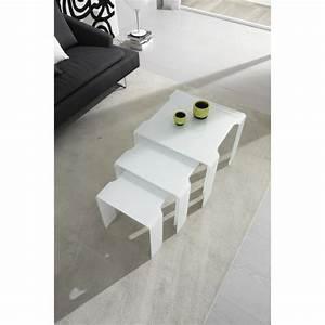 Table Basse Gigogne Verre : table basse gigogne design trix en verre blan achat ~ Teatrodelosmanantiales.com Idées de Décoration