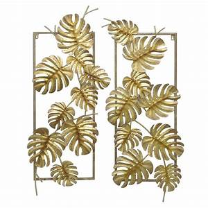 Three hands gold metal tropical leaves wall decor set of for Leaf wall decor