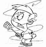 Fly Annoying Coloring Swat Cartoon Outline Boy Mad Bugs Ron Leishman Trying Printable Drawing Drawings Toonaday Yahoo sketch template