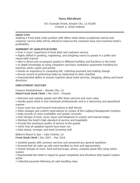 free hotel receptionist resume template sle ms word