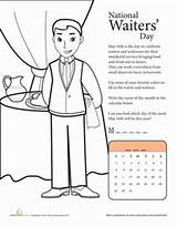 Waiter Coloring Worksheets National Waiters Worksheet 16th Open Orders Taking Dining Fine sketch template