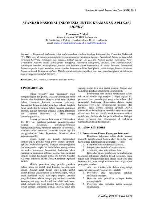 (PDF) STANDAR NASIONAL INDONESIA UNTUK KEAMANAN APLIKASI