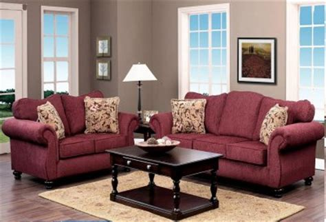 Living Room Paint Colors With Burgundy Furniture by Burgundy Fabric Classic Sofa Loveseat Set W Options