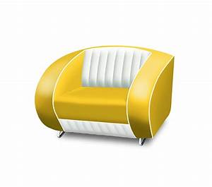 Bel Air Retro Furniture Single Seater Sofa White Back