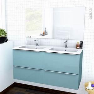 ensemble salle de bains meuble keria bleu plan double With meuble salle de bain double vasque bleu