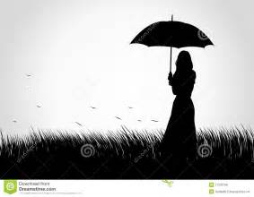 Girl with Umbrella Silhouette