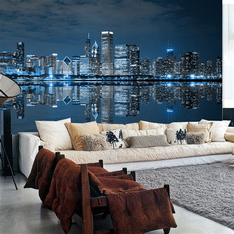 Living Room Wallpaper City by Beibehang Modern Large Scale Murals Wallpaper Living Room
