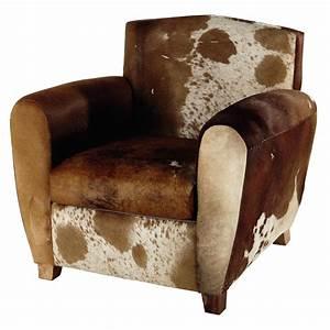 Fauteuil Peau De Vache : fauteuil en peau de vache marron blanc peterson maisons du monde ~ Teatrodelosmanantiales.com Idées de Décoration