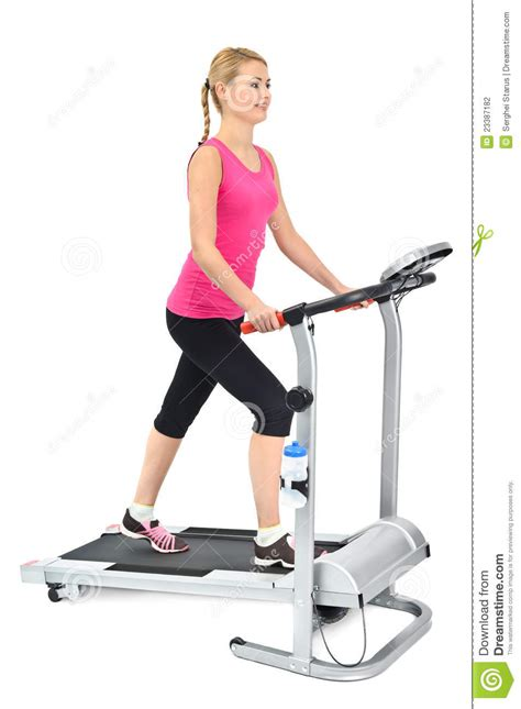 exercice sur tapis roulant femme faisant des exercices sur le tapis roulant photographie stock image 23387182
