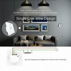 Black Wifi Smart Wall Switch No Neutral Wire Needed