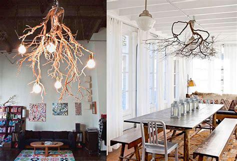 una rustica lampara de madera natural  salvaje blog