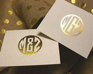 metallic gold foil 3 letter monogram personalized folded With gold foil letters