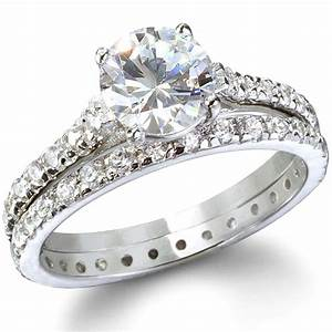 endless love sterling silver cz engagement ring set only With cubic zirconia wedding rings that look real