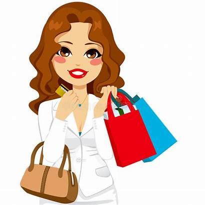 Shopping Cartoon Woman Vector Credit Clipart Funny