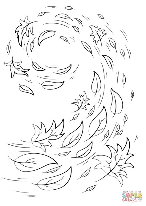 swirling autumn leaves coloring page  printable