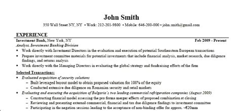 investment banking resume template investment banking resume of walls