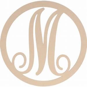 23 U0026quot  Script Circle Monogram Wooden Letter  M  Ab2246