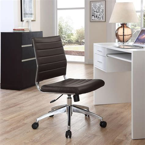 modway jive armless mid back office chair in brown eei