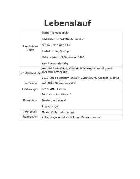 wzory cv po niemiecku  przykladowych cv po niemiecku