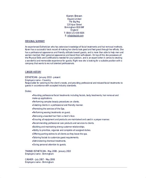 Esthetician Resume Templates by Esthetician Resume Template 5 Free Word Documents