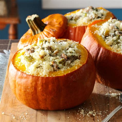 Sausage And Rice Stuffed Pumpkins Recipe Taste Of Home