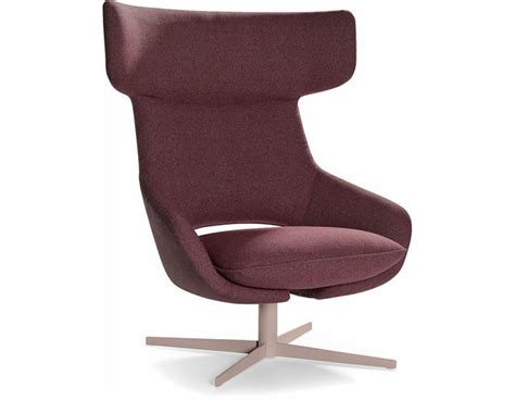 kalm swivel metal base lounge chair hivemodern