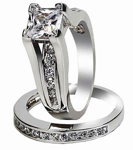 Women39s stainless steel princess cut top cz wedding ring for Cz wedding rings for women