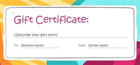 Blank Birthday Gift Certificate Template by Birthday Gift Certificate Template Free Gift Ftempo