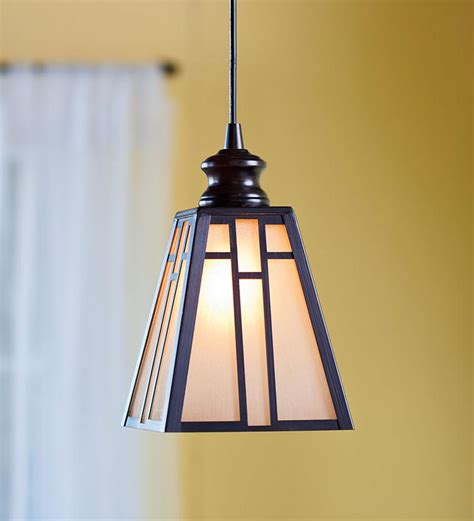 in glow glass mission style pendant light