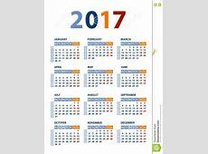 Plantilla Del Vector Del Calendario 2017 Ilustración del