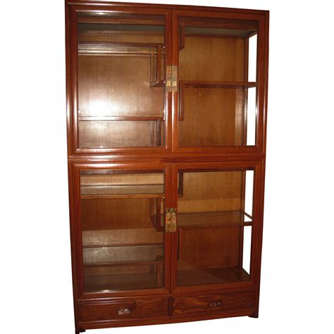 Chinese Two Section Rosewood Curio Cabinet From
