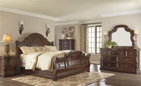 florentown dark brown sleigh bedroom set     ashley