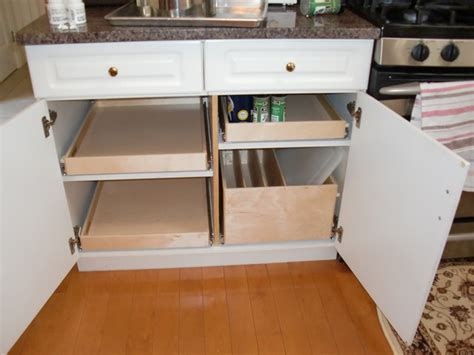 pull out shelves and pull out tray bin kitchen drawer