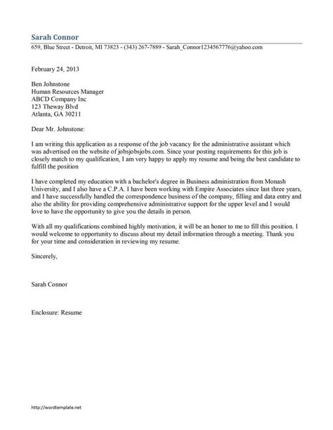 Administrative Assistant Cover Letter Sle by Administrative Assistant Cover Letter Template Cover